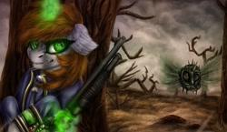 Size: 1507x875 | Tagged: safe, artist:raychelrage, oc, oc:littlepip, bloatsprite, parasprite, pony, unicorn, fallout equestria, clothes, dead tree, female, magic, mare, pipbuck, telekinesis, tree, vault suit, wasteland