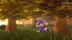 Size: 2560x1440 | Tagged: safe, artist:melodiousmarci, twilight sparkle, alicorn, pony, 3d, artist training grounds 2020, atg 2020, autumn, clothes, dress, female, folded wings, grass, lying down, mare, newbie artist training grounds, revamped ponies, smiling, solo, source filmmaker, sunset, tree, twilight sparkle (alicorn), wings