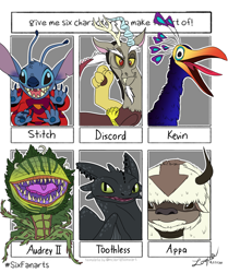 Size: 1000x1194 | Tagged: safe, artist:zoeycoco, discord, alien, bird, draconequus, dragon, six fanarts, appa, audrey 2, avatar the last airbender, clothes, crossover, how to train your dragon, kevin, lilo and stitch, male, open mouth, plant, sharp teeth, smiling, stitch, teeth, toothless the dragon, up (movie)