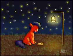 Size: 2364x1815 | Tagged: safe, artist:nebulafactory, pony, crying, digital art, holiday, night, practice, sad, solo, stars, valentine's day