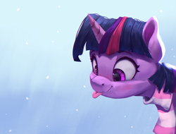 Size: 2150x1637   Tagged: safe, artist:vanillaghosties, twilight sparkle, pony, :p, atg 2020, blue background, blushing, clothes, cross-eyed, cute, digital art, female, gradient background, mare, newbie artist training grounds, scarf, smiling, snow, snowflake, solo, striped scarf, tongue out, twiabetes