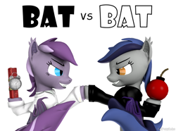 Size: 1280x950 | Tagged: safe, artist:batponyecho, oc, oc only, oc:echo, oc:violet rose, bat pony, pony, 3d, bat pony oc, bat wings, bomb, clothes, duo, dynamite, explosives, female, mad magazine, mare, parody, sfm pony, shaking, simple background, source filmmaker, spy vs. spy, tail, tnt, weapon, white background, wings