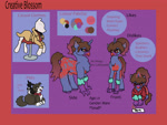 Size: 2654x2007 | Tagged: safe, artist:creative-blossom, oc, oc:creativeblossom, dog, hippogriff, rabbit, unicorn, animal, clothes, colored, digital, drawing, female, front, mare, pets, reference, reference sheet, side