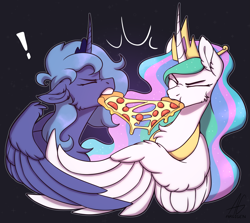 Size: 3921x3495   Tagged: safe, artist:argigen, princess celestia, princess luna, alicorn, pony, angry, black background, cheese pizza, chest fluff, crown, curved horn, duo, eyes closed, female, fight, food, horn, jewelry, mare, meat, pepperoni, pepperoni pizza, peytral, pizza, rcf community, regalia, royal sisters, s1 luna, siblings, simple background, sisters