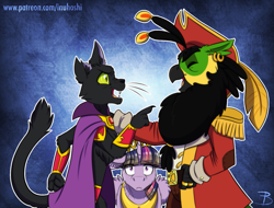 Size: 1553x1181 | Tagged: safe, artist:inuhoshi-to-darkpen, abyssinian king, twilight sparkle, oc, abyssinian, alicorn, bird, cat, parrot, parrot pirates, my little pony: the movie, abyssinian oc, alternate universe, open mouth, pirate, twilight sparkle (alicorn)
