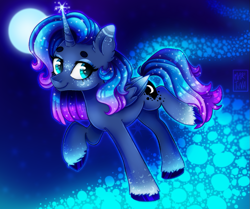 Size: 1147x960 | Tagged: safe, alternate version, artist:meqiopeach, princess luna, alicorn, pony, luna eclipsed, alternate design, alternate hairstyle, art, blushing, cute, cutie mark, design, ear fluff, ethereal mane, eyebrows, eyeshadow, fluffy, freckles, full background, future, looking back, lunabetes, magic, makeup, moon, path, princess, raised hoof, raised tail, smiley face, solo, sparkles, starry mane, stars, tail