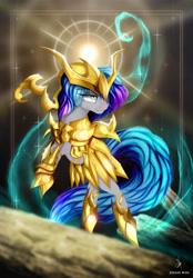 Size: 3226x4635 | Tagged: safe, artist:zidanemina, oc, oc only, pony, absurd resolution, anime, armor, crossover, saint seiya, scorpio, solo