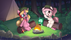 Size: 5487x3087 | Tagged: safe, artist:an-m, artist:pestil, oc, oc only, oc:butter berry, oc:setna, earth pony, firefly (insect), insect, pony, unicorn, bush, campfire, campsite, collaboration, cookie, cute, duo, female, filly, filly guides, filly scouts, food, forest, gap teeth, juice, juice box, lake, log, night, outdoors, raised hoof, sitting, tent, tree