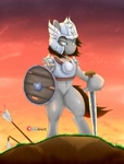 Size: 3124x4096 | Tagged: safe, artist:inkystylus12, oc, oc:reliable trustheart, arm hooves, armor, bipedal, blood, fantasy class, shield, sunset, sword, viking, warrior, weapon