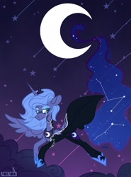 Size: 1518x2048 | Tagged: safe, artist:n in a, nightmare moon, princess luna, alicorn, pony, cloud, constellation, crescent moon, crying, moon, night, night sky, s1 luna, sky, solo, stars, teary eyes