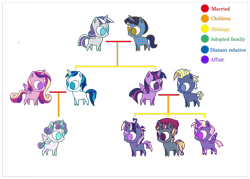 Size: 1024x732 | Tagged: safe, artist:starlight-starfish, night light, princess cadance, princess flurry heart, shining armor, star tracker, twilight sparkle, twilight velvet, oc, alicorn, family tree, female, male, nightvelvet, no pupils, offspring, parent:star tracker, parent:twilight sparkle, parents:twitracker, shiningcadance, shipping, simple background, straight, transparent background, twilight sparkle (alicorn), twitracker