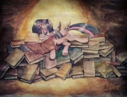 Size: 3456x2642 | Tagged: safe, artist:digiral, twilight sparkle, alicorn, pony, book, female, glowing horn, horn, lying down, magic, mare, reading, signature, solo, telekinesis, that pony sure does love books, traditional art, twilight sparkle (alicorn), watercolor painting