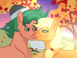 Size: 1280x960   Tagged: safe, artist:erockertorres, artist:themune, applejack, timber spruce, earth pony, pony, applespruce, beanie, bedroom eyes, bench, blushing, equestria girls ponified, female, freckles, hat, leaf, male, mare, ponified, shipping, stallion, straight, tree