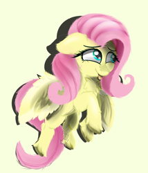 Size: 1200x1400 | Tagged: safe, artist:diamondgreenanimat0, fluttershy, pegasus, pony, chest fluff, colors, female, floppy ears, flower, fluffy, green eyes, hoof fluff, looking away, mare, pretty, rose, simple background, smiling, solo, spread wings, tongue out, unshorn fetlocks, wing fluff, wings, yellow background