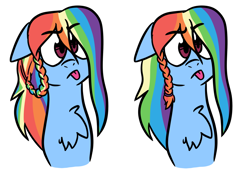 Size: 1280x876 | Tagged: safe, artist:mlprarepairartsies, rainbow dash, pegasus, pony, :p, alternate hairstyle, braid, bust, chest fluff, female, mare, simple background, solo, tongue out, white background