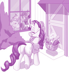 Size: 1280x1354 | Tagged: safe, artist:dstears, cranky doodle donkey, matilda, rarity, pony, unicorn, bag, basket, coronavirus, covid-19, digital art, eyes closed, face mask, female, food, groceries, levitation, magic, mare, mask, saddle bag, smiling, telekinesis, waving