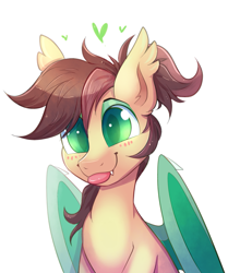 Size: 1209x1371 | Tagged: safe, artist:ravensunart, oc, oc:ambiguity, bat pony, :p, bat ponified, blushing, cute, cute little fangs, ear fluff, eyeshadow, fangs, folded wings, makeup, male, ponytail, race swap, simple background, solo, stallion, tongue out, white background, wings