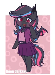 Size: 1174x1583 | Tagged: safe, artist:puetsua, oc, oc only, oc:neon darksky, anthro, bat pony, unguligrade anthro, bat pony oc, bat wings, blushing, chibi, clothes, cute, cute little fangs, fangs, female, jacket, lidded eyes, looking down, mare, open mouth, skirt, smiling, solo, wings