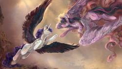 Size: 4210x2408 | Tagged: safe, artist:dedalekha, rarity, twilight sparkle, alicorn, pony, alicornified, angel, black wings, colored wings, fallen angel, female, fine art emulation, fine art parody, halo, lesbian, mare, race swap, raricorn, rarilight, reaching out, shipping, spread wings, the creation of adam, twilight sparkle (alicorn), wings