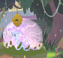Size: 415x380   Tagged: safe, screencap, trixie, pony, unicorn, a horse shoe-in, beehive, cape, clothes, cropped, female, force field, hat, magic, mare, solo, trixie's cape, trixie's hat