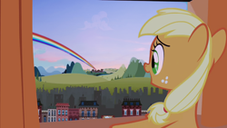 Size: 1280x720 | Tagged: safe, derpibooru exclusive, edit, edited screencap, editor:katy木土, screencap, applejack, the cutie mark chronicles, rainbow, solo