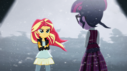 Size: 1280x720 | Tagged: safe, derpibooru exclusive, edit, edited screencap, editor:katy木土, screencap, sci-twi, sunset shimmer, twilight sparkle, equestria girls, friendship games, clothes, crossed arms, crystal prep academy uniform, duo, duo female, female, school uniform