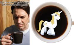 Size: 810x491   Tagged: safe, prince blueblood, human, pony, unicorn, coffee, german, irl, irl human, male, meme, mug, photo, stallion, stock image