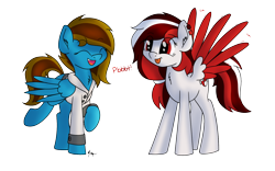 Size: 1600x1000 | Tagged: safe, artist:ponynamedmixtape, oc, oc only, oc:memeancholy, oc:peppermint, pegasus, clothes, duo, female, jacket, onomatopoeia, raspberry, raspberry noise, silly, simple background, tongue out, transparent background