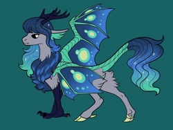Size: 1024x768 | Tagged: safe, artist:loryska, oc, oc only, hybrid, ethereal mane, green background, interspecies offspring, offspring, parent:cosmos, parents:canon x oc, simple background, solo