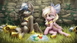 Size: 1280x720 | Tagged: safe, artist:inowiseei, oc, oc only, oc:bay breeze, oc:cloud zapper, pegasus, pony, armor, bow, cupcake, female, food, hair bow, male, mare, pegasus oc, picnic blanket, stallion, wings