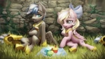 Size: 1280x720   Tagged: safe, artist:inowiseei, oc, oc only, oc:bay breeze, oc:cloud zapper, pegasus, pony, armor, bow, cupcake, female, food, hair bow, male, mare, pegasus oc, picnic blanket, stallion, wings