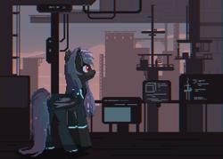 Size: 1400x1000 | Tagged: safe, artist:niehuaisang, oc, oc:stellar wind, bat pony, bat pony oc, bat wings, city, cyberpunk, looking away, pixel art, scenery, science fiction, skyline, solo, tail wrap, wings