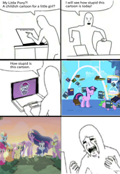 Size: 1380x2006 | Tagged: safe, applejack, fluttershy, pinkie pie, rainbow dash, rarity, spike, twilight sparkle, alicorn, earth pony, human, pegasus, pony, unicorn, friendship is magic, the last problem, book, computer, crying, hourglass, laptop computer, mane seven, mane six, meme, older, older applejack, older fluttershy, older mane seven, older mane six, older pinkie pie, older rainbow dash, older rarity, older spike, older twilight, princess twilight 2.0, sad, twilight sparkle (alicorn), twilight's canterlot home