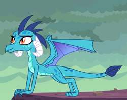 Size: 6969x5502 | Tagged: safe, artist:kmlp, princess ember, dragon, absurd resolution, all fours, dragon lands, dragoness, female, smiling, solo, vector, wings