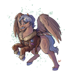 Size: 1772x1772 | Tagged: safe, artist:sourcherry, oc, oc only, oc:radar, pegasus, fallout equestria, clothes, dashite, facial hair, jacket, looking at you, male, moustache, patch, simple background, solo, spread wings, stallion, wings