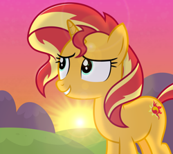 Size: 2700x2400 | Tagged: safe, artist:devfield, sunset shimmer, pony, unicorn, atg 2020, female, glow, hill, lens flare, mare, mountain, newbie artist training grounds, outdoors, redraw, shading, shadow, show accurate, smiling, solo, sun, sunset, two toned mane, two toned tail