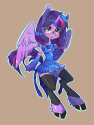 Size: 1200x1600 | Tagged: safe, artist:tomat-in-cup, twilight sparkle, alicorn, anthro, unguligrade anthro, 2014, brown background, clothes, colored hooves, evening gloves, female, gloves, long gloves, simple background, skirt, solo, twilight sparkle (alicorn), unshorn fetlocks