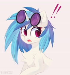 Size: 3828x4096 | Tagged: safe, artist:melloncollie-chan, dj pon-3, vinyl scratch, pony, unicorn, bust, chest fluff, open mouth, pink eyes, portrait, simple background, solo, surprised