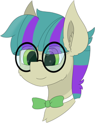 Size: 4193x5444 | Tagged: safe, artist:skylarpalette, oc, oc only, oc:bitty code, earth pony, big ears, big glasses, bowtie, cheek fluff, commission, ear fluff, earth pony oc, glasses, green eyes, happy, male, simple background, simple shading, smiling, stallion, transparent background