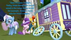 Size: 1920x1080 | Tagged: safe, artist:red4567, sunburst, trixie, 3d, atg 2020, balsa, double facehoof, facehoof, letter, newbie artist training grounds, oops, source filmmaker, trixie's wagon