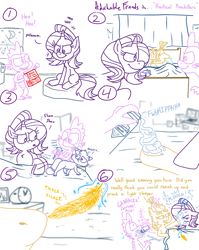 Size: 4779x6013 | Tagged: safe, artist:adorkabletwilightandfriends, moondancer, spike, starlight glimmer, oc, oc:pinenut, cat, comic:adorkable twilight and friends, adorkable, adorkable friends, bed, bedroom, book, comic, cute, dork, epic fail, fail, feather, fission mailed, foam, friendship, hooves, humor, magic, mischief, mischievous, mischievous grin, nostrils, outsmarted, pillow, practical joke, prank, prank fail, scurry, shaving cream, sneaking, tickling