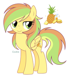 Size: 2340x2563 | Tagged: safe, artist:lazuli, oc, oc only, oc:alex, pegasus, pony, food, pegasus oc, pineapple, reference sheet, simple background, smiling, solo, transparent background, wings