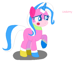 Size: 453x360 | Tagged: safe, anonymous artist, pony, unicorn, base used, female, horn, mare, ponified, raised hoof, recolor, smiling, solo, text, the lego movie, unikitty, unikitty! (tv series)