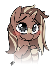 Size: 1250x1650 | Tagged: safe, artist:fakskis, oc, oc only, pony, unicorn, bags under eyes, blushing, body freckles, clothes, ear freckles, female, freckles, horn freckles, mare, simple background, socks, solo, solo female, white background
