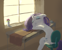 Size: 1448x1178 | Tagged: safe, artist:nendo, rarity, unicorn, chair, eyes closed, female, floppy ears, flower, sleeping, solo, solo female, window