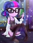 Size: 1800x2400 | Tagged: safe, artist:artmlpk, sci-twi, twilight sparkle, equestria girls, adorable face, adorasexy, adorkable, alternate hairstyle, bare chest, bare shoulders, beautiful, book, breasts, cleavage, clothes, coat, confused, cute, digital art, dork, female, glasses, hair bun, lab coat, looking at you, nerd, sexy, shirt, shorts, sitting, smiling, smiling at you, socks, solo, studying, t-shirt, thigh highs, thighs, watermark