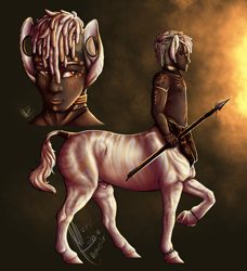 Size: 1870x2048 | Tagged: safe, artist:depixelator, centaur, taur, zebra, african, anklet, big ears, bodypaint, commission, custom, dreadlocks, dreads, ear piercing, face paint, gauges, glow, glowy, gold, gold rings, golden, golden zebra, irl, jewelry, photo, piercing, red eyes, ring, shading, spear, stripes, toy, tribal, weapon, white hair
