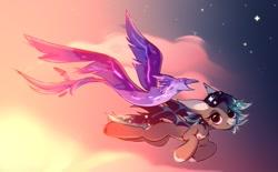 Size: 859x531 | Tagged: safe, artist:mirtash, oc, oc only, oc:aviera betelgeuse, bat pony, bird, phoenix, pony, flying, sky, stars, sunset