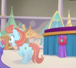 Size: 344x308 | Tagged: safe, screencap, earth pony, pony, my little pony: the movie, background pony, booth, canterlot, cropped, female, mare, offscreen character, running, scared, tents, unnamed character, unnamed pony