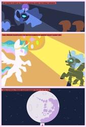 Size: 1600x2358 | Tagged: safe, artist:chedx, nightmare moon, princess celestia, princess luna, alicorn, comic:mlp the untold life, adventure, alternate universe, comic, fanfic, fantasy, fight